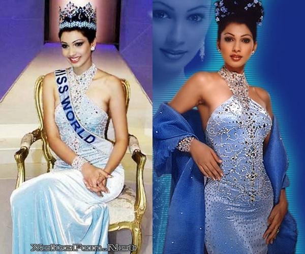Hoa hậu Thế giới 1999 người Ấn Độ Yukta Mookey khoe dáng nuột nà trong thiết kế ôm sát trên nền lụa mềm mại.
