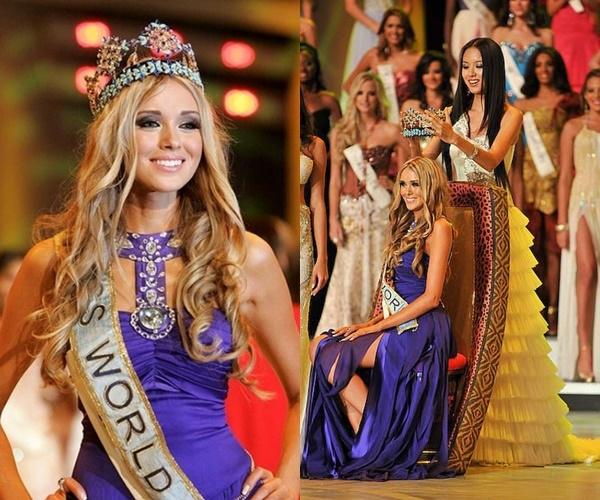 Nhan sắc tuyệt mỹ của các Hoa hậu Thế giới Ksenia Sukhinova lại có sự khác biệt đôi chút khi chọn tông màu tím xanh thẫm. Cô là Hoa hậu Thế giới 2008.