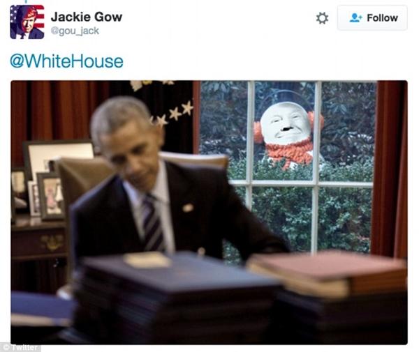 Hình ảnh người tuyết được nhiều cư dân mạng chế ảnh thànhgương mặt củaDonald Trump. (Ảnh: chụp màn hình)