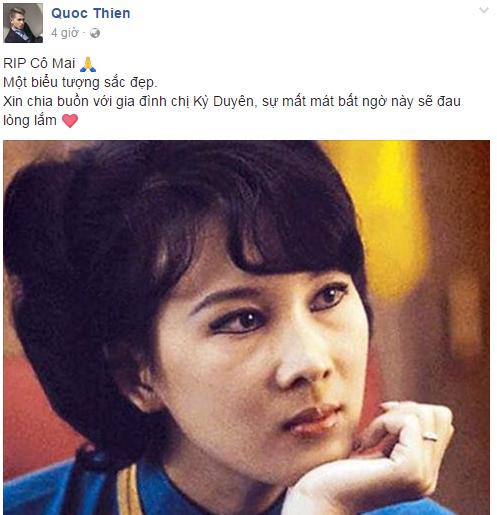 """Quốc Thiên viết: """"Xin chia buồn với gia đình chị Kỳ Duyên, sự mất mát bất ngờ này sẽ đau lòng lắm"""". - Tin sao Viet - Tin tuc sao Viet - Scandal sao Viet - Tin tuc cua Sao - Tin cua Sao"""