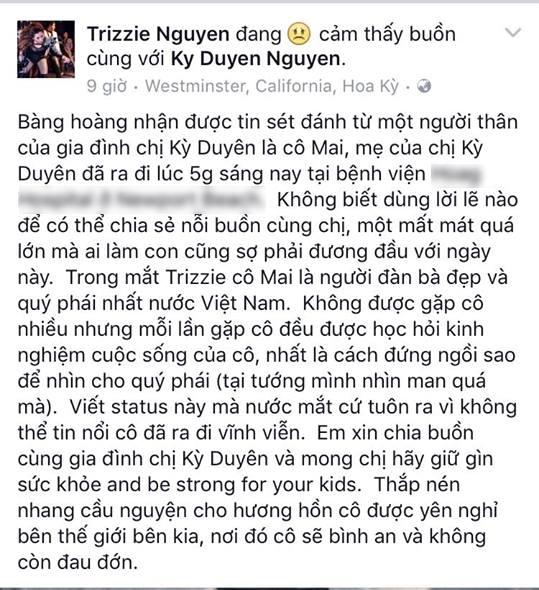 Vợ cũ của nam ca sĩ Bằng Kiều - Trizzie Nguyễn mong bà bình an ở thế giới bên kia. - Tin sao Viet - Tin tuc sao Viet - Scandal sao Viet - Tin tuc cua Sao - Tin cua Sao
