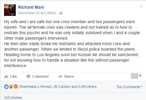 Bài viết sau sự cố của Richard Marx trên trang Facebook. (Ảnh chụp màn hình)