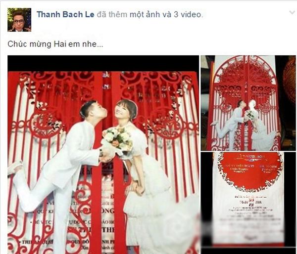 MC Thanh Bạch gửi lời chúc mừng đến Trấn Thành và Hari Won. - Tin sao Viet - Tin tuc sao Viet - Scandal sao Viet - Tin tuc cua Sao - Tin cua Sao