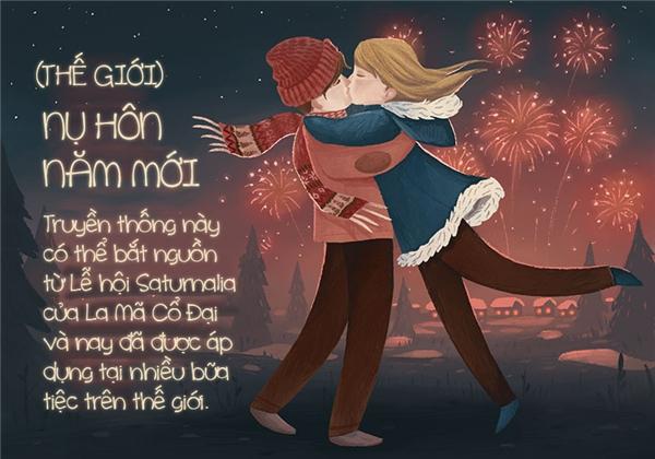 Nhiều nước quan niệm Giáng sinh cũng là lúc kết thúc năm cũ, chuyển sang năm mới nên khởi đầu bằng một nụ hôn đầy yêu thương là việc làm quá hợp lý rồi nhỉ.