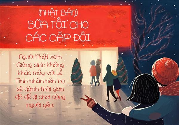 """Đêm Giáng sinh lạnh buốt mà có """"gấu"""" tay trong tay đi bên cạnh thì còn gì sung sướng bằng nữa chứ."""