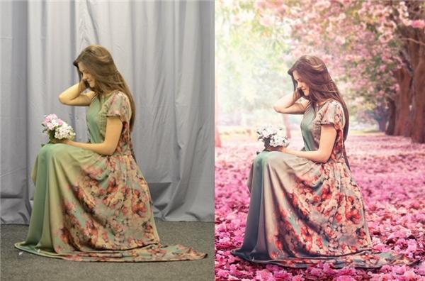 Từ bối cảnh studio biến thành cả khu rừng hoa lãng mạn.