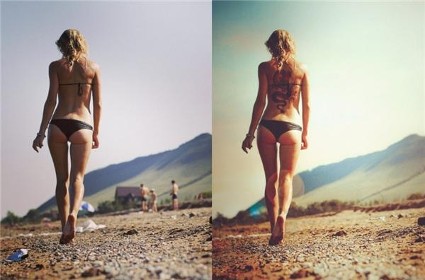 Thân hình cô gái trở nên quyến rũ hơn trong ánh nắng chiều vàng.