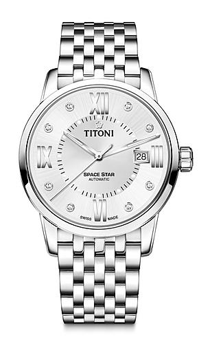 Chiếc Titoni Space Star 83538 S – 099 quá đỗi phù hợp với làn da trắng sáng, phong cách đài cát của người đẹp.