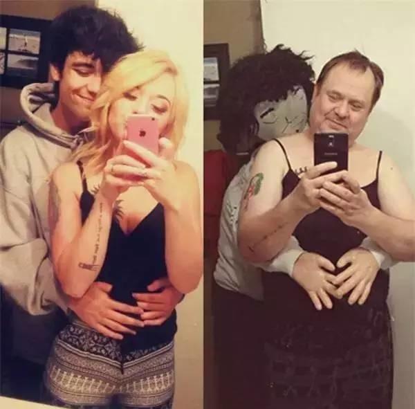 """""""Bố cũng có bạn trai ôm từ sau lưng nhé"""".(Ảnh: Internet)"""