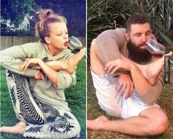 Tập yoga và uống rượu nè.(Ảnh: Internet)