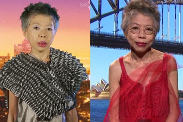 """Những bộ trang phục với ren và họa tiết, phụ kiện nổi bật mà chỉ có Lee Lin Chin mới dám tự tin """"diện"""" lên bản tin truyền hình."""