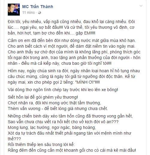 Trấn Thành làm thơ tình tặng Hari Won trước giờ G của hôn lễ - Tin sao Viet - Tin tuc sao Viet - Scandal sao Viet - Tin tuc cua Sao - Tin cua Sao