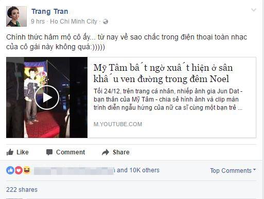 """Thu Trang cho biết cô chính thức trở thành fan của Mỹ Tâm và trong thời gian tới list nhạc sẽ được phủ đầy bởi những ca khúc của """"Họa mi tóc nâu"""". - Tin sao Viet - Tin tuc sao Viet - Scandal sao Viet - Tin tuc cua Sao - Tin cua Sao"""