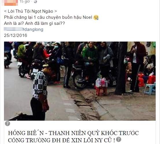 Hình ảnh chàng thanh niên quỳ gối giữa đường bị chia sẻ lên mạng xã hội. (Ảnh: Chụp màn hình)