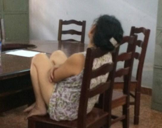 Bà Hồ Thị Ngọc Đ. tại cơ quan điều tra Công an phường Tân Phú. (Ảnh: Internet)