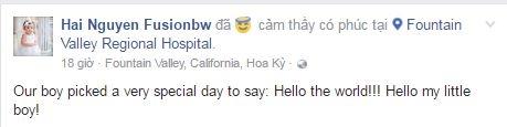 """Ông xã Jennifer Phạm hạnh phúc viết: """"Our boy picked a very special day to say: Hello the world! Hello my little boy!"""" (Tạm dịch: """"Cậu bé của chúng tôi đã chọn một ngày rất đặc biệt để nói: Xin chào thế giới! Xin chào cậu bé của tôi""""). Anh cho biết, Jennifer Phạmđã sinh contại bệnh viện Fountain Valley Regional Hospital, California, Mỹ. - Tin sao Viet - Tin tuc sao Viet - Scandal sao Viet - Tin tuc cua Sao - Tin cua Sao"""