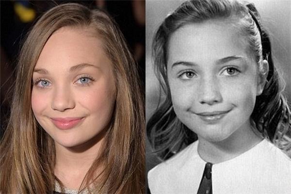 Gương mặt giống nhau của bà Clinton khi trẻ và cô bé 14 tuổi.