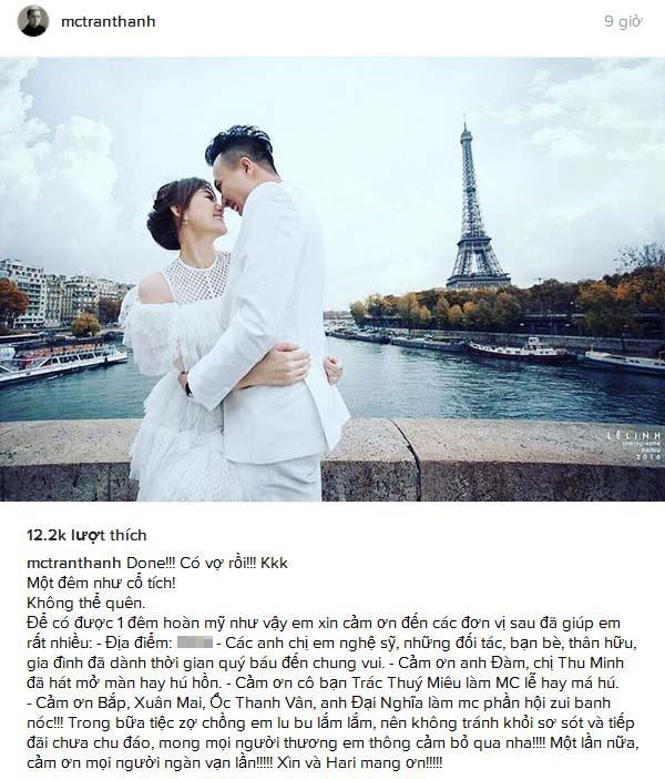 Trấn Thành hạnh phúc viết tâm thư trong đêm tân hôn - Tin sao Viet - Tin tuc sao Viet - Scandal sao Viet - Tin tuc cua Sao - Tin cua Sao