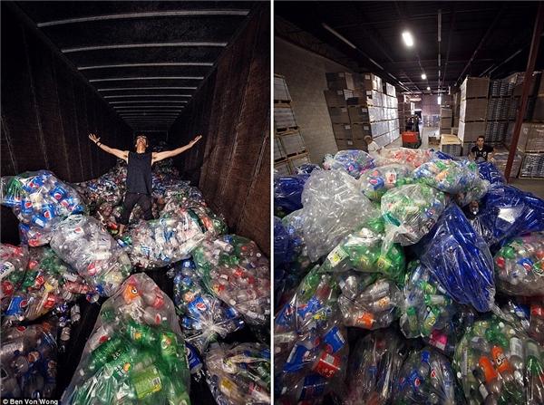 Ekip của Von Wong thậm chí còn liên hệ tới một loạt nhà máy rác thải. Như trút được gánh nặng, các nhà máy gửi tới 50 xe tải toàn là chai vớilọ.