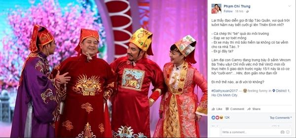 Danh hài Chí Trungthông báo về việc được mời đi tập cho chương trình Táo quân 2017.
