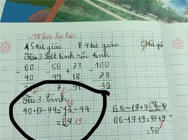 Đếncô giáo cũng cộng nhầm40+17= 63?(Ảnh: Internet)