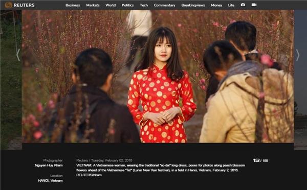 Bức hình củaKiều Trinhtại vườn đào được xuất hiện trên trang thông tấn nổi tiếng thế giới. (Ảnh: Internet)