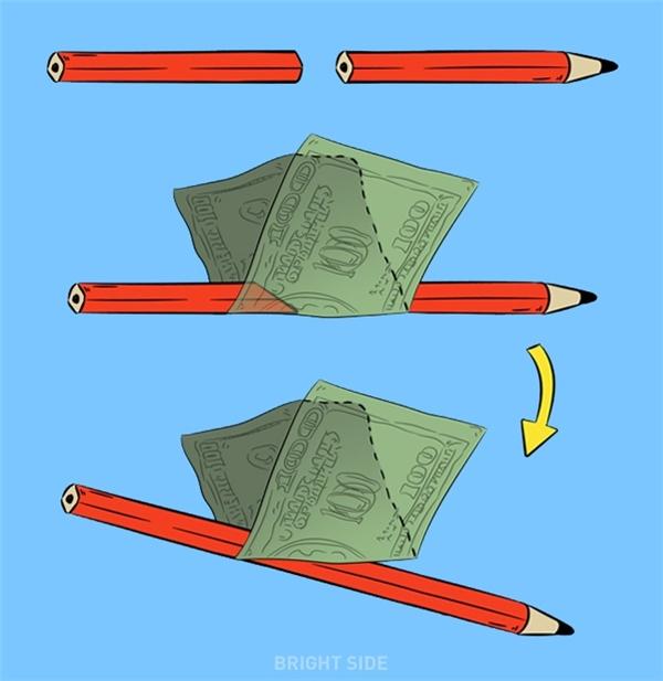 Dùng bút chì đâm thủng và xé rách tiền giấy: Cách hoạt động của trò ảo thuật này đó là vị ảo thuật gia dùng một cây bút chì đặt vào bên trong một tờ giấy bạc được gấp đôi, sau đó dùng cây bút chì xé đôi tờ giấy, nhưng sau đó khi tờ tiền giấy được giơ lên, nó hoàn toàn không bị rách.