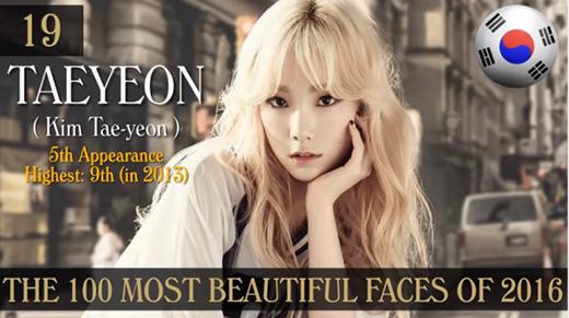 Đây không phải là lần đầu tiên người đẹp trưởng nhóm SNSD có mặt trong danh sách này. Với vị trí thứ 19, đây là lần thứ 5 Taeyeoncó mặt trong danh sách này.Thứ hạng cao nhất trưởng nhóm SNSD đạt được là hạng 9 vào năm 2013.