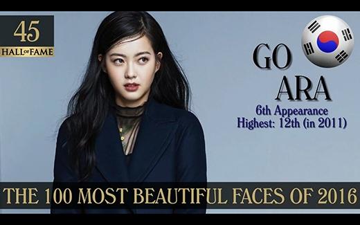 Vốn là một mỹ nhân, nhan sắc thường xuyên lọt vào những bảng xếp hạng, nữ diễn viên Go Ara khiêm tốn ở vị trí 45.
