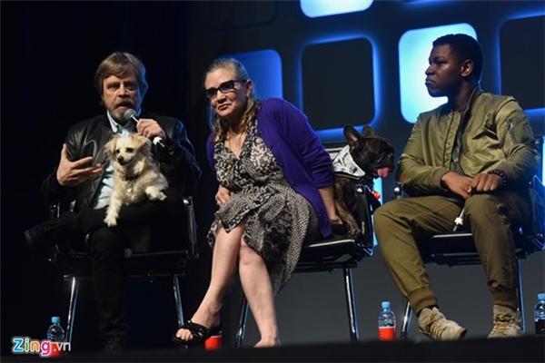 Carrie Fisher bên cạnh Mark Hamill và John Boyega tại sự kiện Star Wars Celebration 2016.