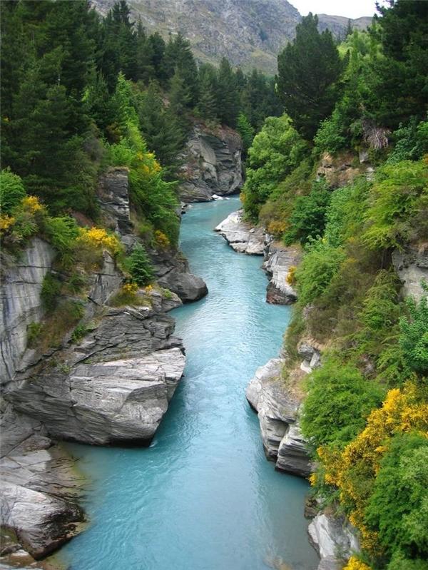 Tấm ảnh gốc chụp sông Shotover ở Đảo Nam, New Zealand.
