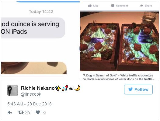 Dòng đăng tải trên Twitter của đầu bếpRichie Nakanovề món ăn nấm cục trắng được đựngbằngiPad. (Ảnh: internet)