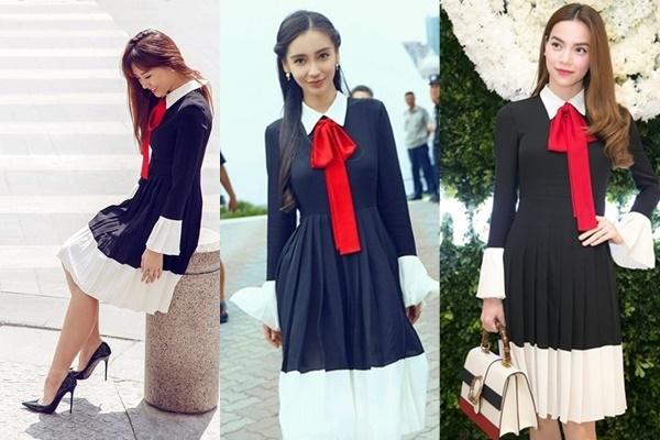 """Gần đây, Hari Won cũng dần ưa chuộng những món đồ điệu đắt đỏ. Nữ ca sĩ có cú """"đụng hàng"""" với Hồ Ngọc Hà và xuyên biên giới với Angelababy khi cùng diện bộ váy mang phong cách cổ điển của nhà mốt Gucci."""