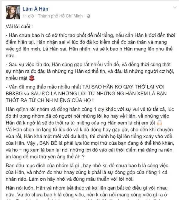 Lâm Á Hân phẫn nộ và tuyên bố chấm dứt tình bạn với BB&BG