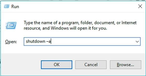 Hủy bỏ lệnh tự động tắt máy tính đã thiết lập trước đó.