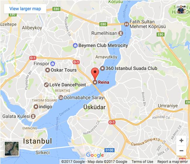 Vị trí vụ khủng bố xảy ra tại Istanbul, Thổ Nhĩ Kỳ. (Ảnh: Google Map)