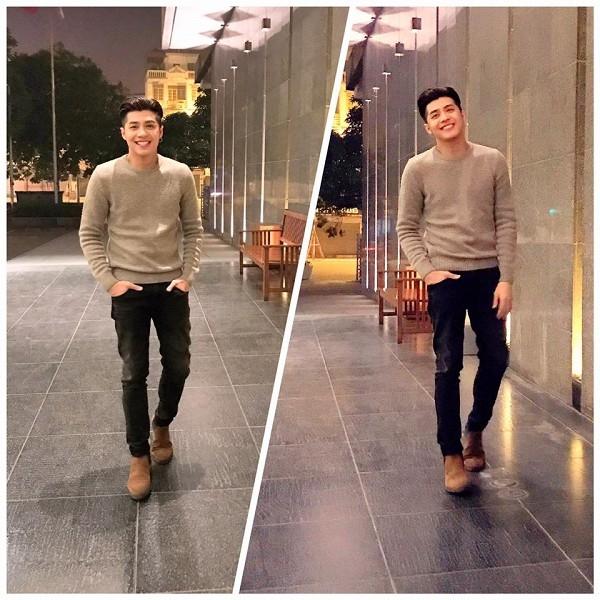 Noo Phước Thịnh rảo bước trên phố đầu năm với áo màu nâu nhạt kết hợp jeans đen món đồ mà bất cứ chàng trai nào cũng có thể sở hữu.