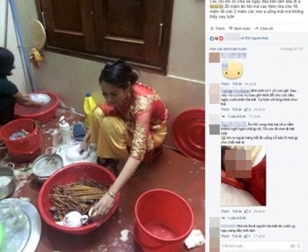 Cô gái còn mặc nguyên chiếc áo dài đỏ ngồi rửa bát.(Ảnh: Chụp màn hình)