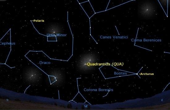 Vùng trời chứa chòm sao tâm điểm của trận mưa sao Quadrantids, gần chòm sao Bootes. (Ảnh: internet)