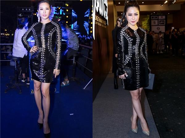 Bước sang U40 nhưng Hoa hậu Phu nhân Thu Hoài lại trông như thuở còn son với thiết kế ánh kim nổi bật của Chung Thanh Phong. Thiết kế này cũng từng được Hương Tràm diện cách đây không lâu với cách trang điểm, làm tóc đơn giản nhưng bắt mắt.