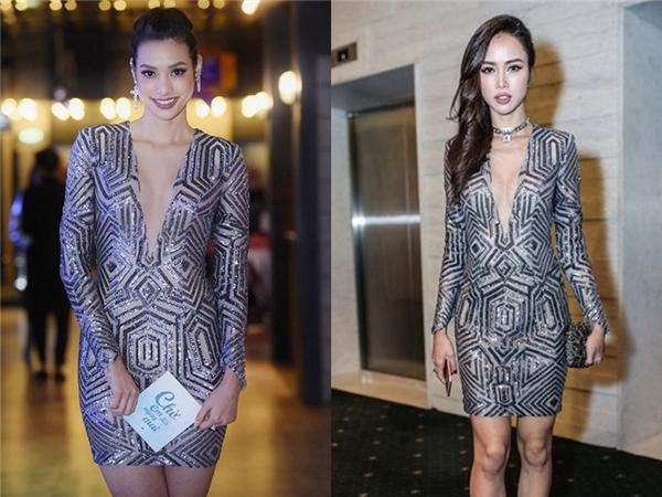 Dù có khung xương khá to, thân hình không thon gọn đúng chuẩn mẫu nhưng Lilly Nguyễn vẫn nổi bật không thua kém đàn chị Vũ Ngọc Anh trong cùng bộ váy ngắn ánh bạc nổi bật.
