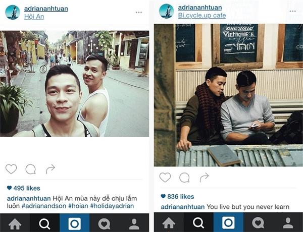 Những khoảnh khắc du lịch hạnh phúc của Adrian Anh Tuấn và Sơn Đoàn trên Instagram.