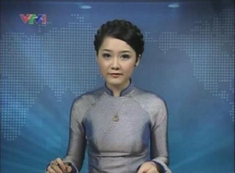 BTV Thu Hà từng đảm nhận vai trò giữ sóng bản tin Thời sự lúc 19 giờ vào năm 2011.