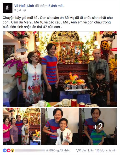 Hoài Linh gửi lời cảm ơn bố mẹ và những người thân trong gia đình đã có mặt trong buổi sinh nhật của mình. - Tin sao Viet - Tin tuc sao Viet - Scandal sao Viet - Tin tuc cua Sao - Tin cua Sao