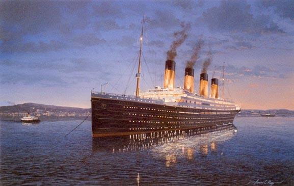 Bức tranh phác họa tàu Titanic huyền thoại.