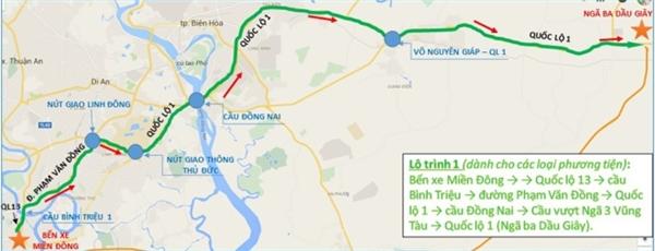 Lộ trình 1: Bến xe miền Đông > Quốc lộ 13 > cầu Bình Triệu > đường Phạm Văn Đồng > Quốc lộ 1 > cầu Đồng Nai > cầu vượt Ngã 3 Vũng Tàu > Quốc lộ 1 (Ngã ba Dầu Giây).