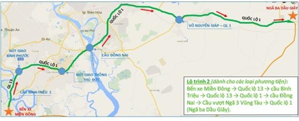 Lộ trình 2: Bến xe miền Đông > Quốc lộ 13 > cầu Bình Triệu > Quốc lộ 13 > Quốc lộ 1 > cầu Đồng Nai > Cầu vượt Ngã 3 Vũng Tàu > Quốc lộ 1 (Ngã ba Dầu Giây).