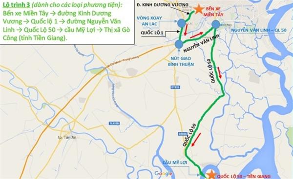 Lộ trình 3: Bến xe miền Tây > đường Kinh Dương Vương > Quốc lộ 1 > đường Nguyễn Văn Linh > Quốc Lộ 50 > cầu Mỹ Lợi > Thị xã Gò Công (tỉnh Tiền Giang).