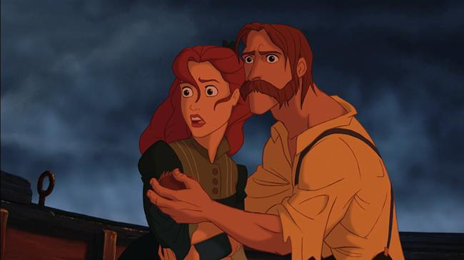 Cha mẹ ôm Tarzan mới ra đời trên con thuyền gặp nạn.