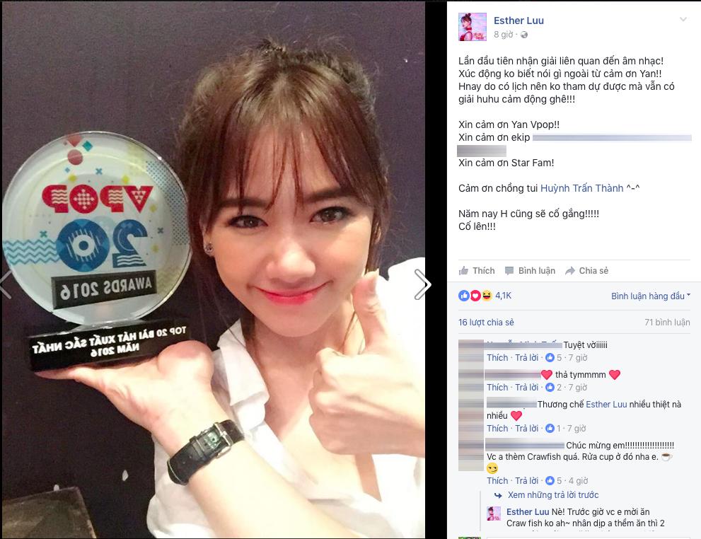 Hari Won cảm ơn ông xã Trấn Thành khi lần đầu nhận giải thưởng âm nhạc - Tin sao Viet - Tin tuc sao Viet - Scandal sao Viet - Tin tuc cua Sao - Tin cua Sao